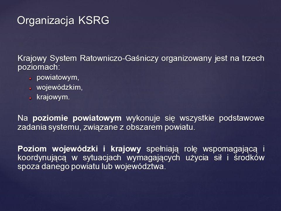 Krajowy System Ratowniczo-Gaśniczy organizowany jest na trzech poziomach: powiatowym,wojewódzkim,krajowym. Na poziomie powiatowym wykonuje się wszystk