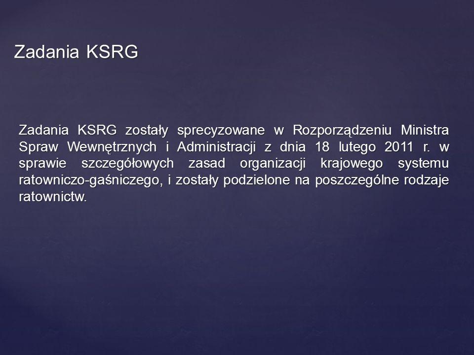 Zadania KSRG zostały sprecyzowane w Rozporządzeniu Ministra Spraw Wewnętrznych i Administracji z dnia 18 lutego 2011 r. w sprawie szczegółowych zasad