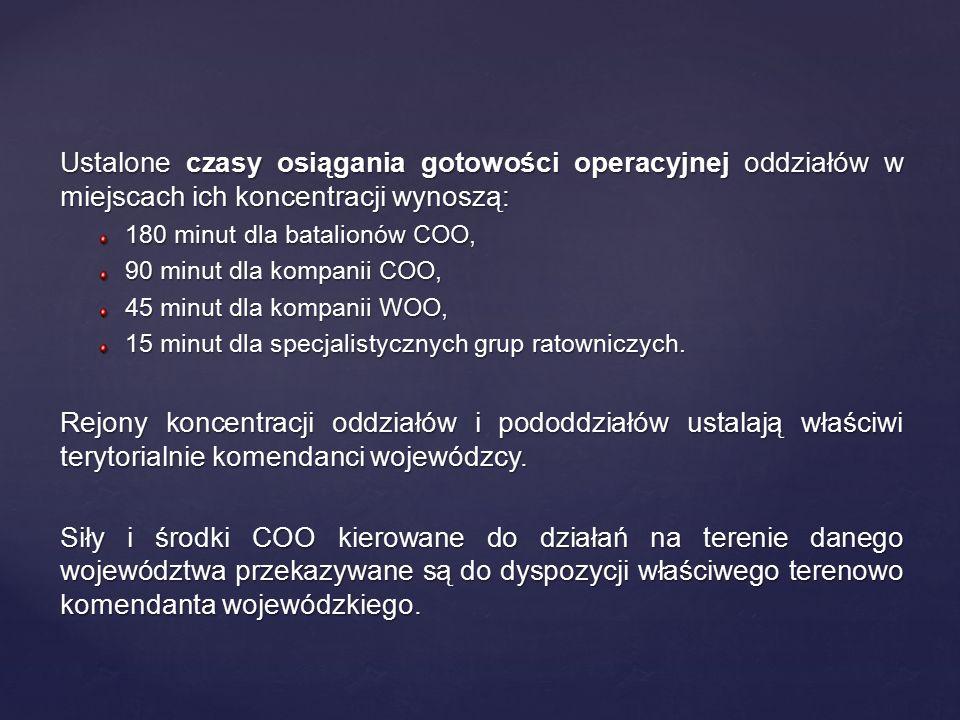 Ustalone czasy osiągania gotowości operacyjnej oddziałów w miejscach ich koncentracji wynoszą: 180 minut dla batalionów COO, 90 minut dla kompanii COO