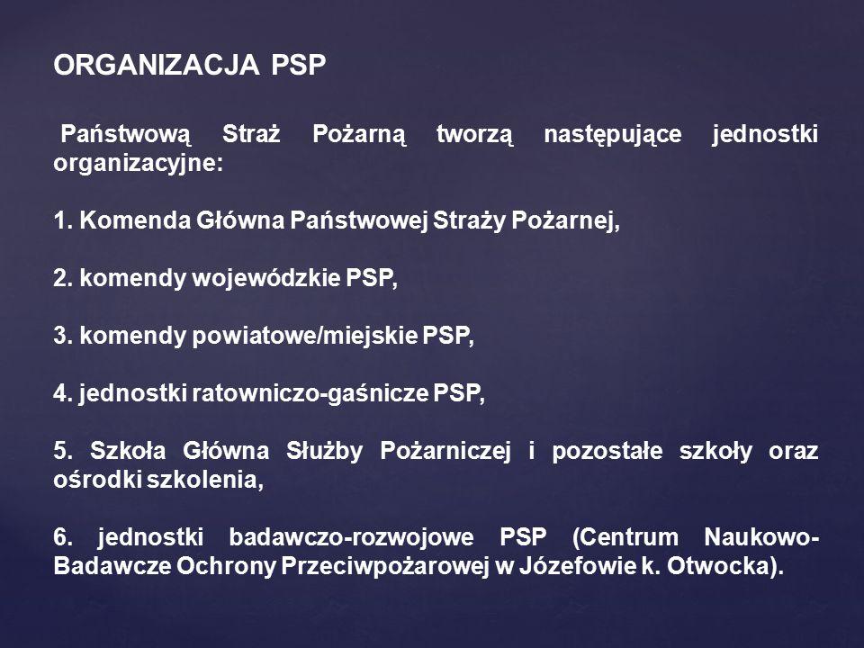 Państwową Straż Pożarną tworzą następujące jednostki organizacyjne: 1. Komenda Główna Państwowej Straży Pożarnej, 2. komendy wojewódzkie PSP, 3. komen