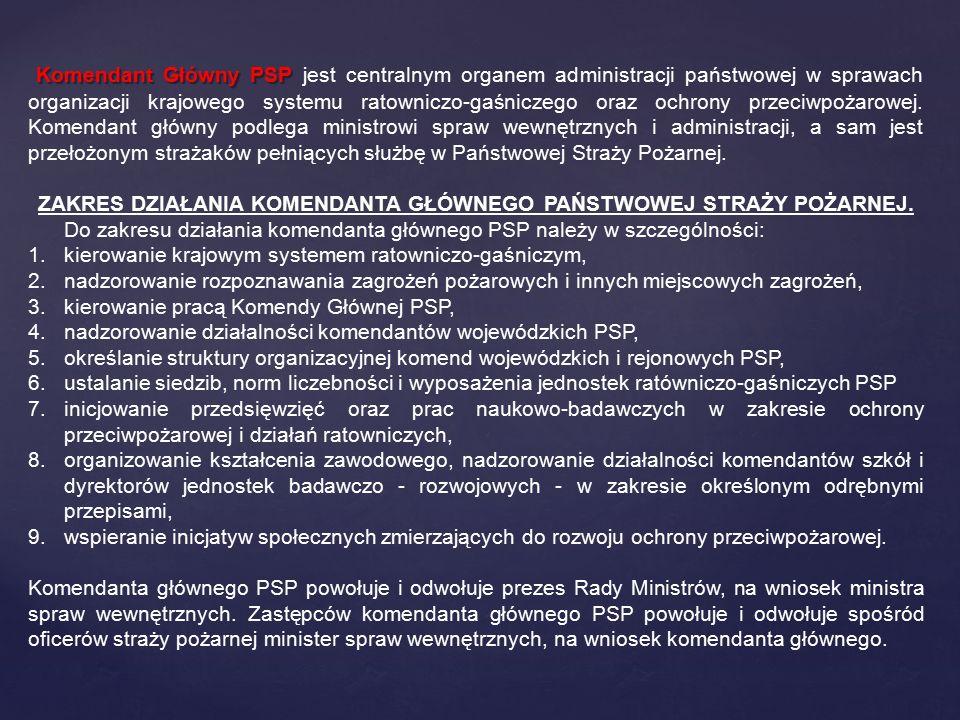 Komendant Główny PSP Komendant Główny PSP jest centralnym organem administracji państwowej w sprawach organizacji krajowego systemu ratowniczo-gaśnicz