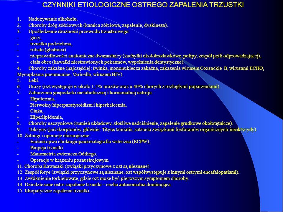 """Czynniki etiologiczne Stres oksydacyjny Zaburzenie polarności wydzielniczej w acinal cells Apikalne -> basolateral Pancreastasis Nadmiar enzymów trzustkowych z acinar cells Nadmiar produktów oksydacji lipidów Gwałtowna i nasilona odpowiedź zapalna Stymulacja komórek tucznych Wzrost poziomu tkankowego PAF Coraz bardziej nasilona reakcja zapalna """"Frustrated phagocytosis Nadmiar kwasu hipochlorowego (HOCI) Śródmiąższowe krwotoczneInaktywacja inhibitorów proteazNadmierna aktywność fagocytarna Nadmiar wolnych rodników O 2 w stosunku do tkankowej zdolności antyoksydacyjnej Degradacje kwasu hialuronowego Peroksydacja lipidów w fosfolipidach macierzy pozakomórkowej błon komórkowych i błon organelli wewnątrzkomórkowych Komórki śródmiąższowe Przestrzeń pozakomórkowa PATOFIZJOLOGIA I PATOGENEZA OZT"""