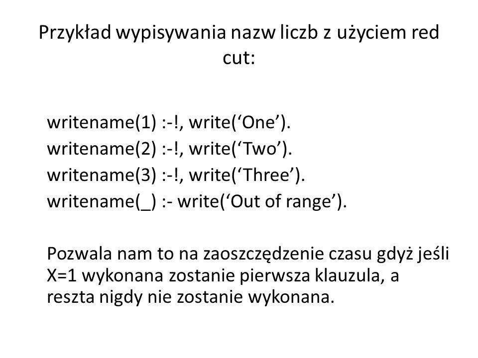 Przykład wypisywania nazw liczb z użyciem red cut: writename(1) :-!, write('One').