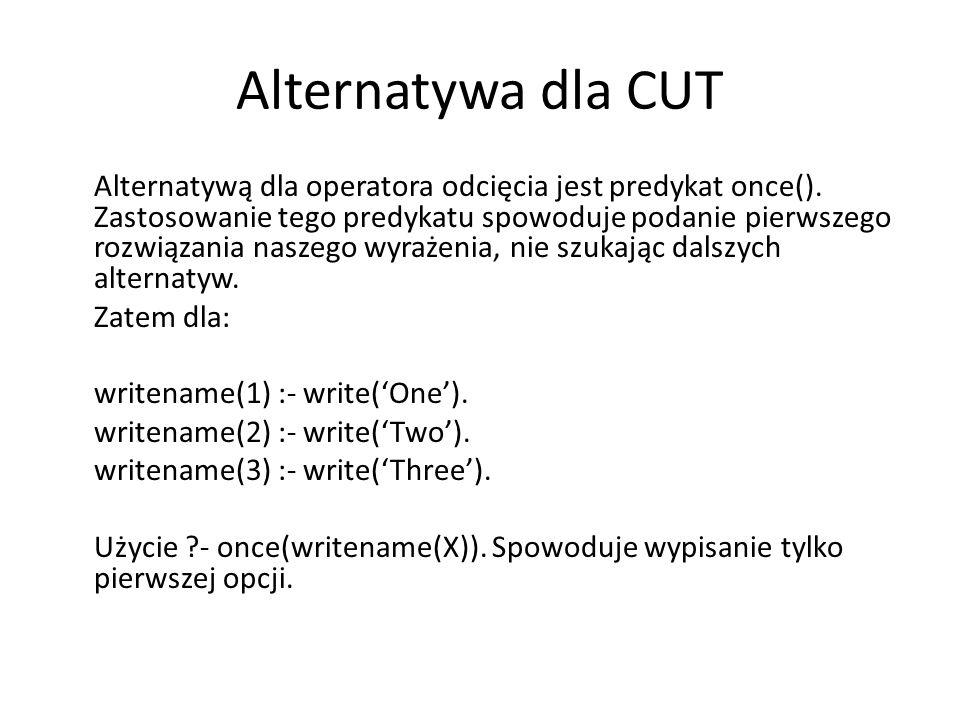 Alternatywa dla CUT Alternatywą dla operatora odcięcia jest predykat once().