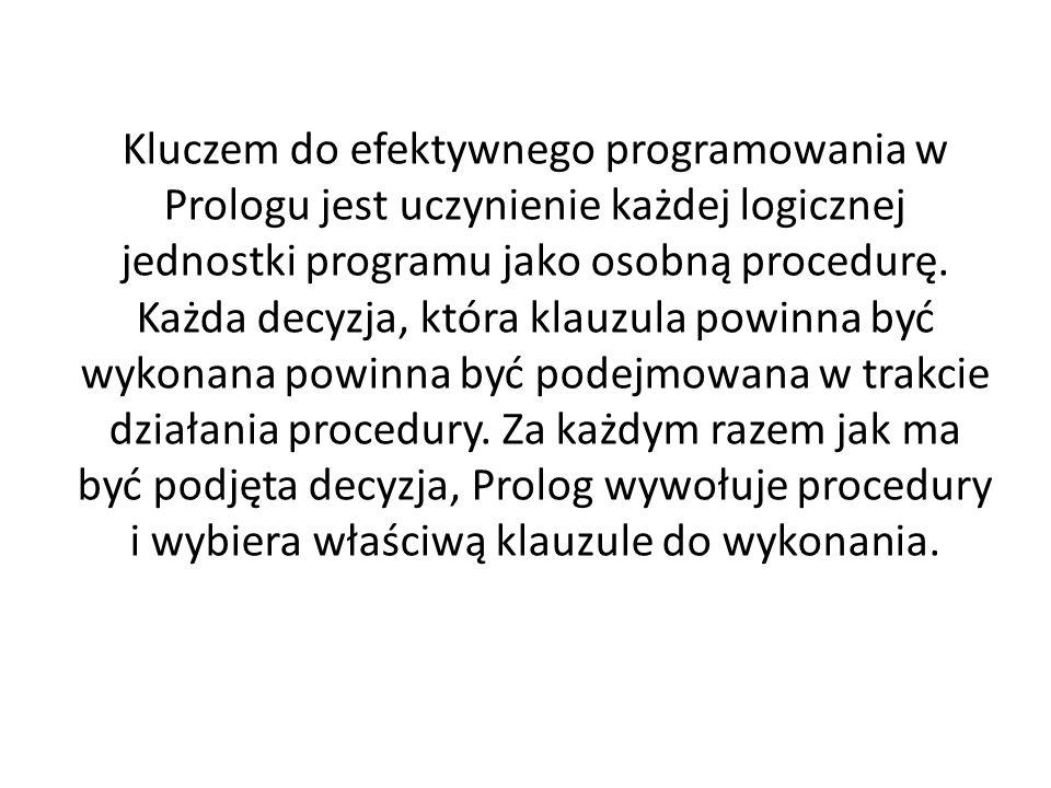 Kluczem do efektywnego programowania w Prologu jest uczynienie każdej logicznej jednostki programu jako osobną procedurę.