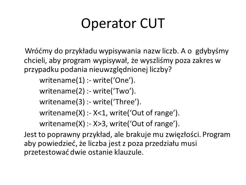 Spróbujmy inaczej: writename(1) :- write('One').writename(2) :- write('Two').