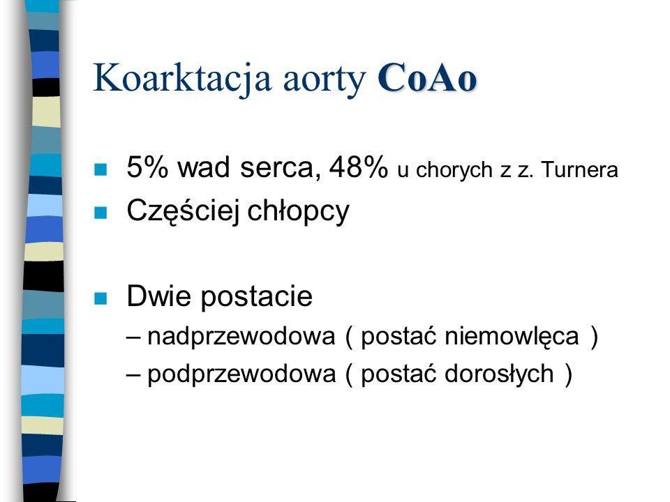 CoAo Koarktacja aorty CoAo n 5% wad serca, 48% u chorych z z. Turnera n Częściej chłopcy n Dwie postacie –nadprzewodowa ( postać niemowlęca ) –podprze