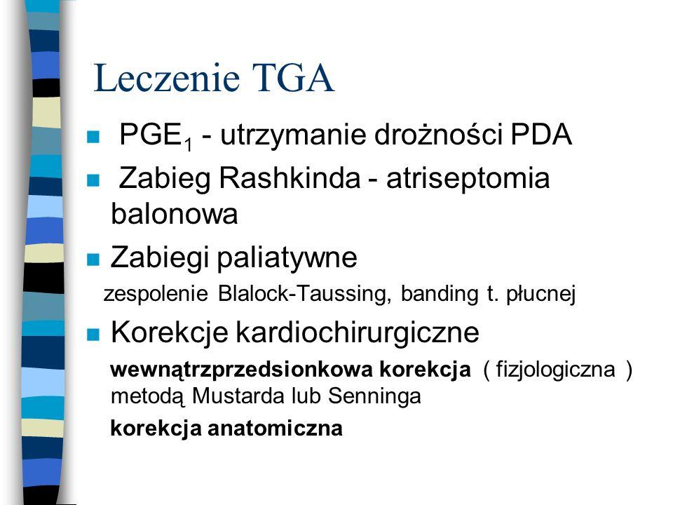 Leczenie TGA n PGE 1 - utrzymanie drożności PDA n Zabieg Rashkinda - atriseptomia balonowa n Zabiegi paliatywne zespolenie Blalock-Taussing, banding t