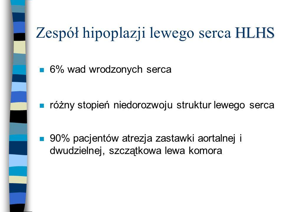 HLHS Zespół hipoplazji lewego serca HLHS n 6% wad wrodzonych serca n różny stopień niedorozwoju struktur lewego serca n 90% pacjentów atrezja zastawki