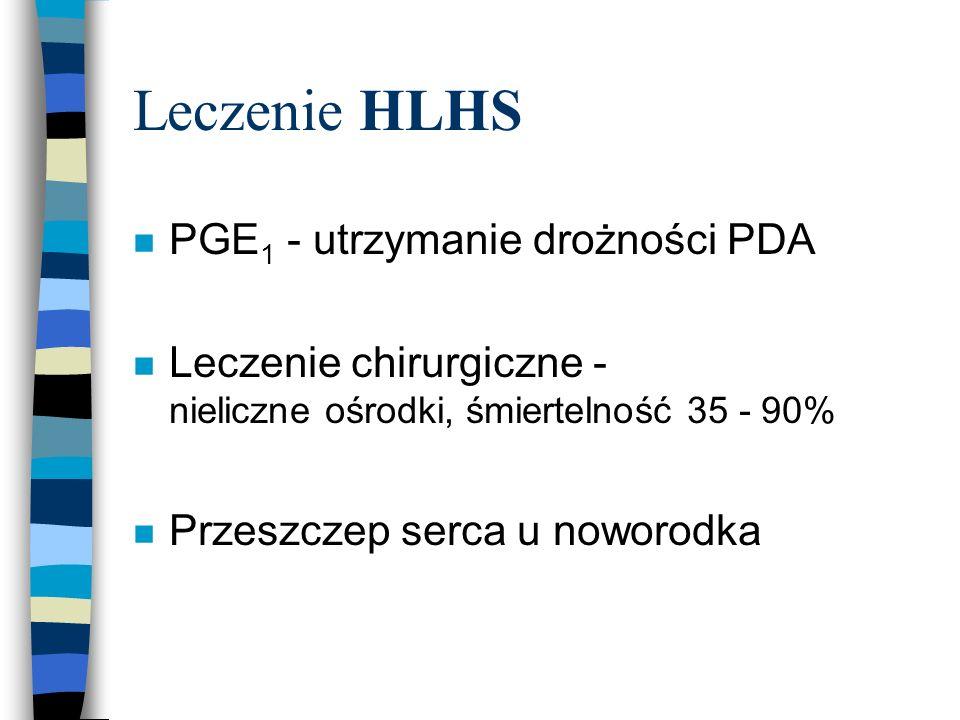 Leczenie HLHS n PGE 1 - utrzymanie drożności PDA n Leczenie chirurgiczne - nieliczne ośrodki, śmiertelność 35 - 90% n Przeszczep serca u noworodka