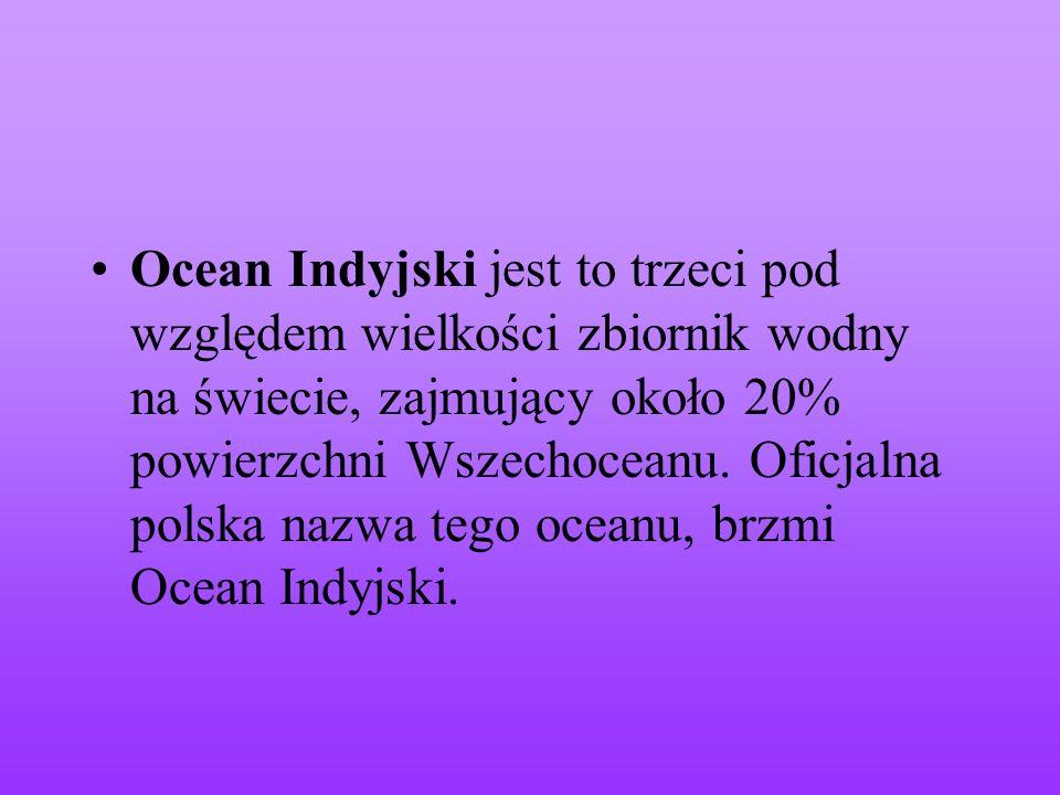 Ocean Indyjski jest to trzeci pod względem wielkości zbiornik wodny na świecie, zajmujący około 20% powierzchni Wszechoceanu. Oficjalna polska nazwa t