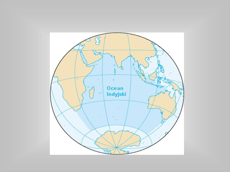 Położenie i obszar Ocean od północy ograniczony jest przez Azję, od zachodu przez Półwysep Arabski i Afrykę, od wschodu przez Półwysep Malajski, Wyspy Sundajskie oraz Australię, a od południa przez Antarktydę (Ocean Południowy).