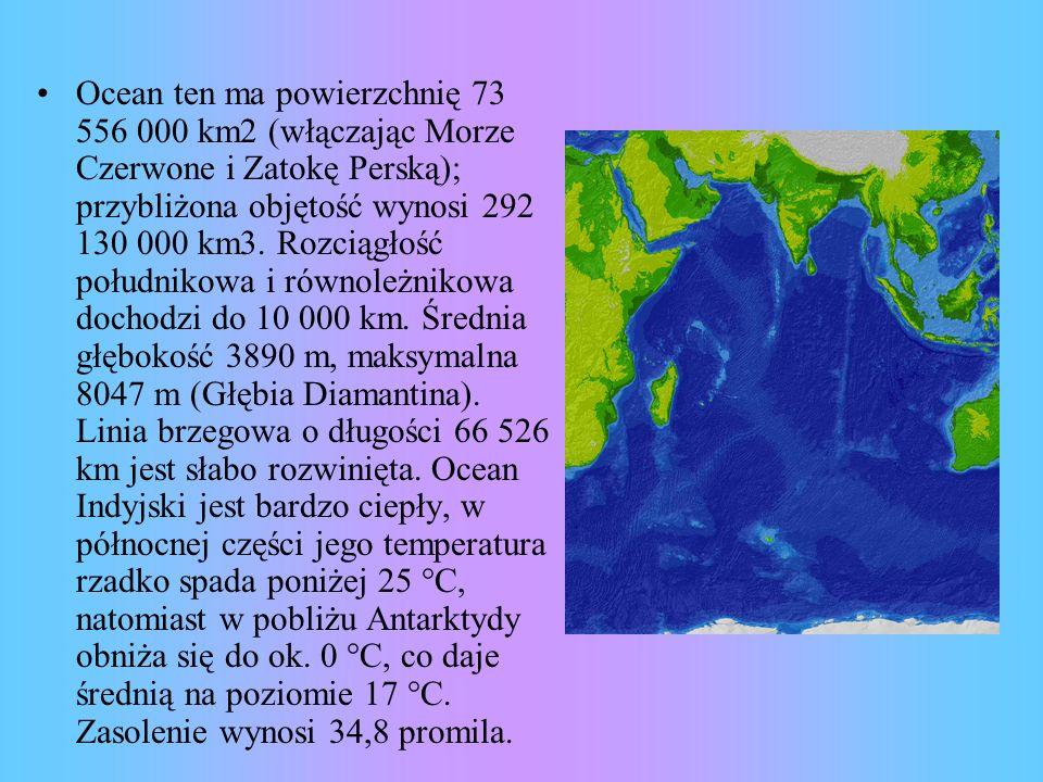 Ocean ten ma powierzchnię 73 556 000 km2 (włączając Morze Czerwone i Zatokę Perską); przybliżona objętość wynosi 292 130 000 km3. Rozciągłość południk