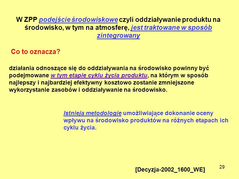 29 Istnieją metodologie umożliwiające dokonanie oceny wpływu na środowisko produktów na różnych etapach ich cyklu życia. W ZPP podejście środowiskowe
