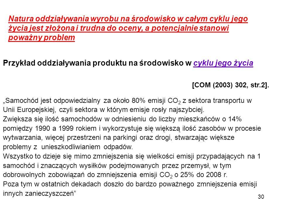 """30 Przykład oddziaływania produktu na środowisko w cyklu jego życia """"Samochód jest odpowiedzialny za około 80% emisji CO 2 z sektora transportu w Unii"""
