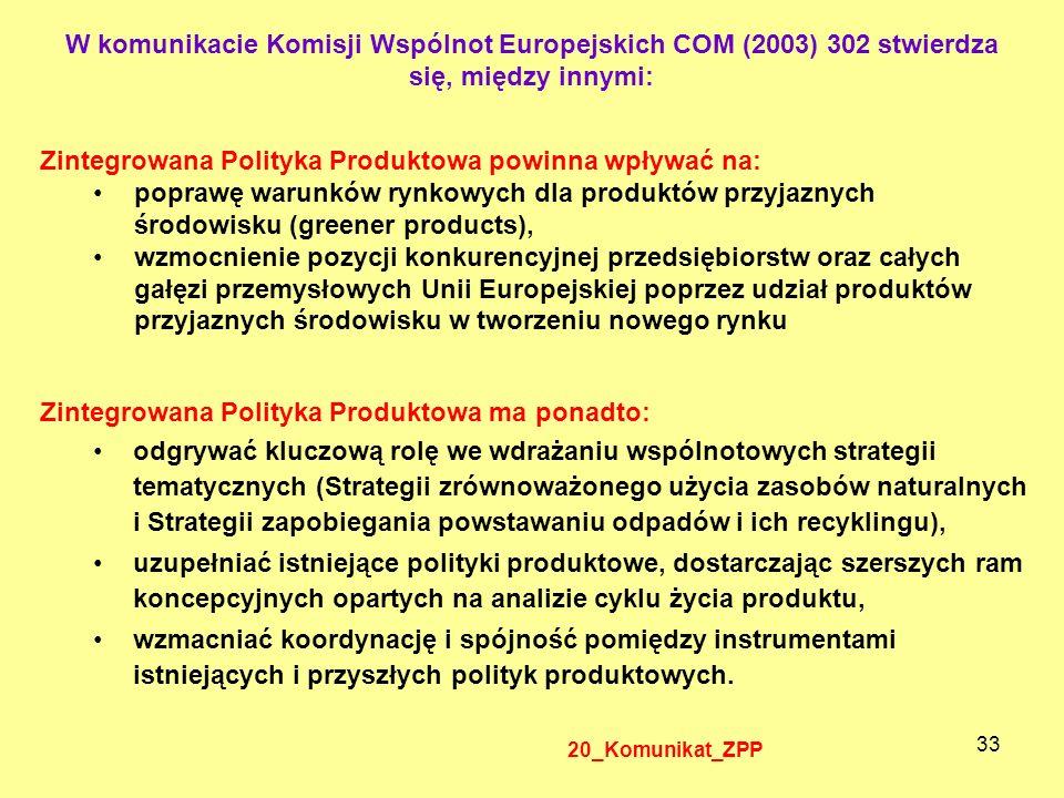 33 Zintegrowana Polityka Produktowa powinna wpływać na: poprawę warunków rynkowych dla produktów przyjaznych środowisku (greener products), wzmocnieni