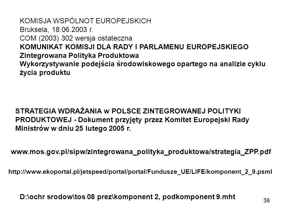 36 KOMISJA WSPÓLNOT EUROPEJSKICH Bruksela, 18.06.2003 r. COM (2003) 302 wersja ostateczna KOMUNIKAT KOMISJI DLA RADY I PARLAMENU EUROPEJSKIEGO Zintegr