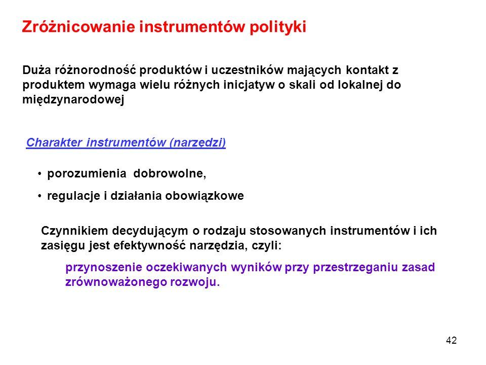 42 Zróżnicowanie instrumentów polityki Duża różnorodność produktów i uczestników mających kontakt z produktem wymaga wielu różnych inicjatyw o skali o