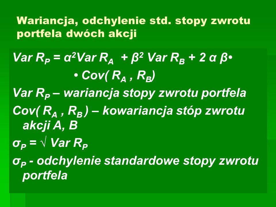 Wariancja, odchylenie std. stopy zwrotu portfela dwóch akcji Var R P = α 2 Var R A + β 2 Var R B + 2 α β Cov( R A, R B ) Var R P – wariancja stopy zwr