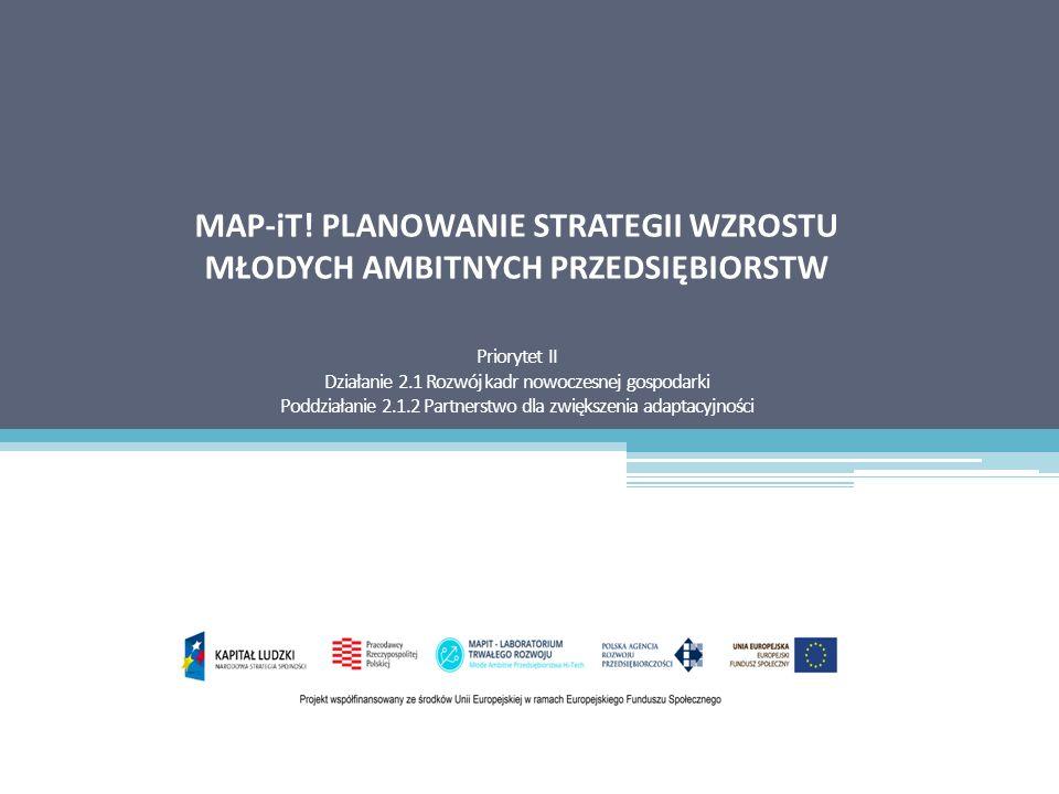 MAP-iT! PLANOWANIE STRATEGII WZROSTU MŁODYCH AMBITNYCH PRZEDSIĘBIORSTW Priorytet II Działanie 2.1 Rozwój kadr nowoczesnej gospodarki Poddziałanie 2.1.