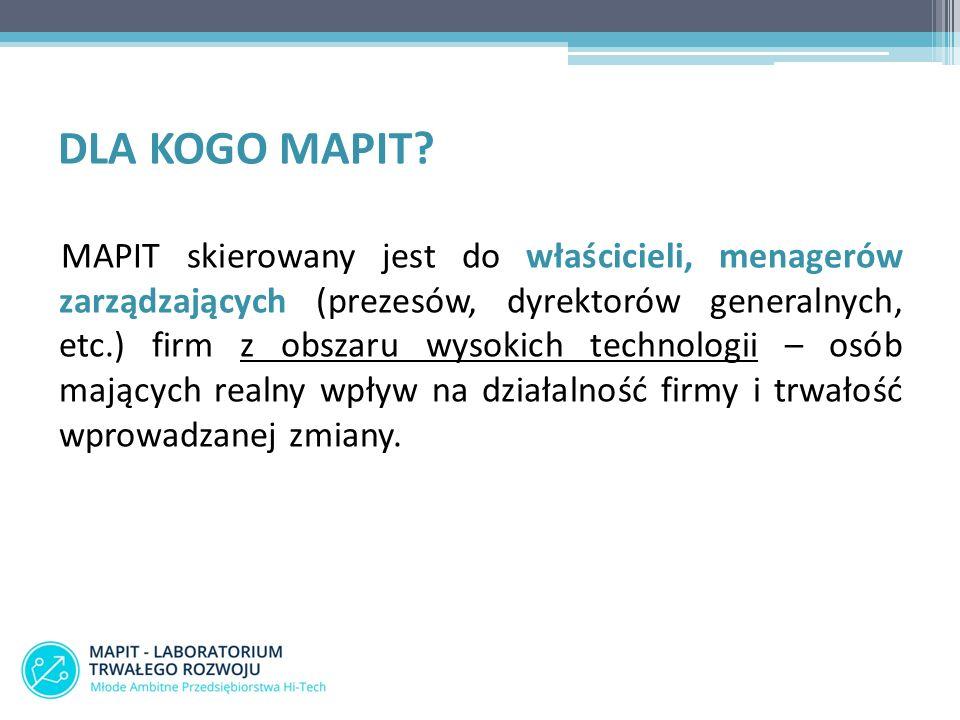 DLA KOGO MAPIT? MAPIT skierowany jest do właścicieli, menagerów zarządzających (prezesów, dyrektorów generalnych, etc.) firm z obszaru wysokich techno