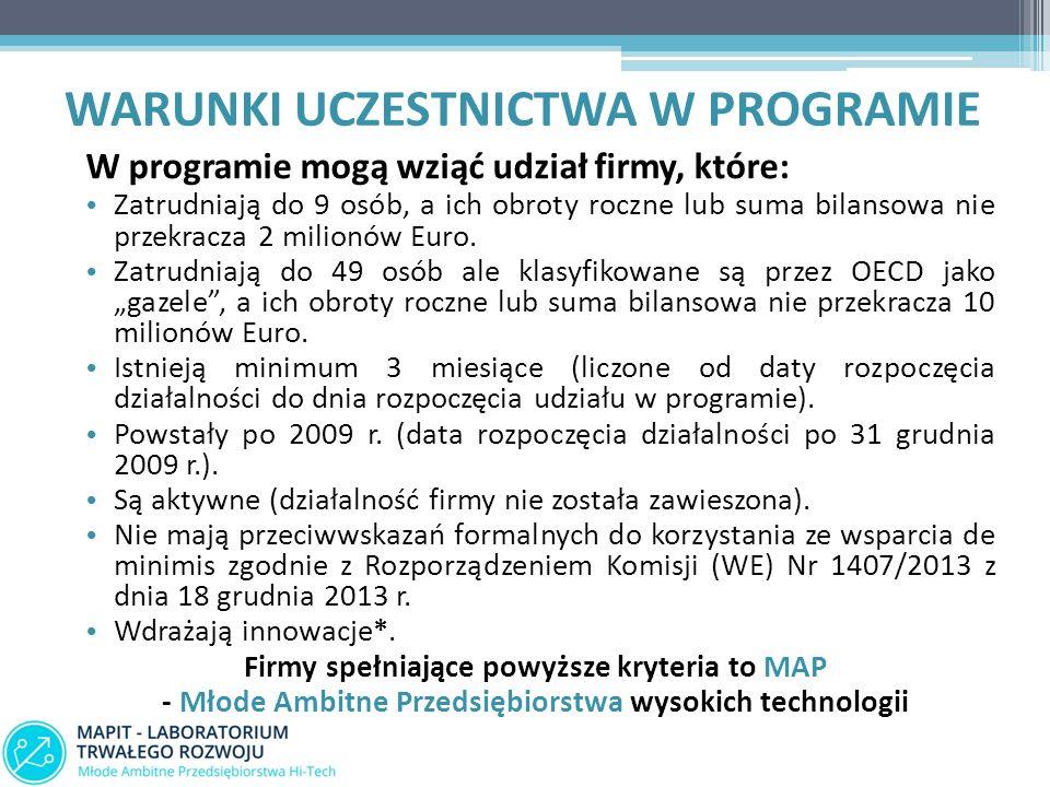 WARUNKI UCZESTNICTWA W PROGRAMIE W programie mogą wziąć udział firmy, które: Zatrudniają do 9 osób, a ich obroty roczne lub suma bilansowa nie przekracza 2 milionów Euro.