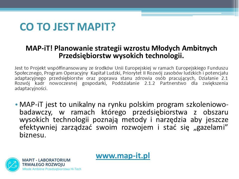 MAP-iT! Planowanie strategii wzrostu Młodych Ambitnych Przedsiębiorstw wysokich technologii. Jest to Projekt współfinansowany ze środków Unii Europejs