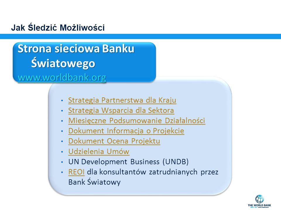 Jak Śledzić Możliwości Strategia Partnerstwa dla Kraju Strategia Wsparcia dla Sektora Miesięczne Podsumowanie Działalności Dokument Informacja o Proje