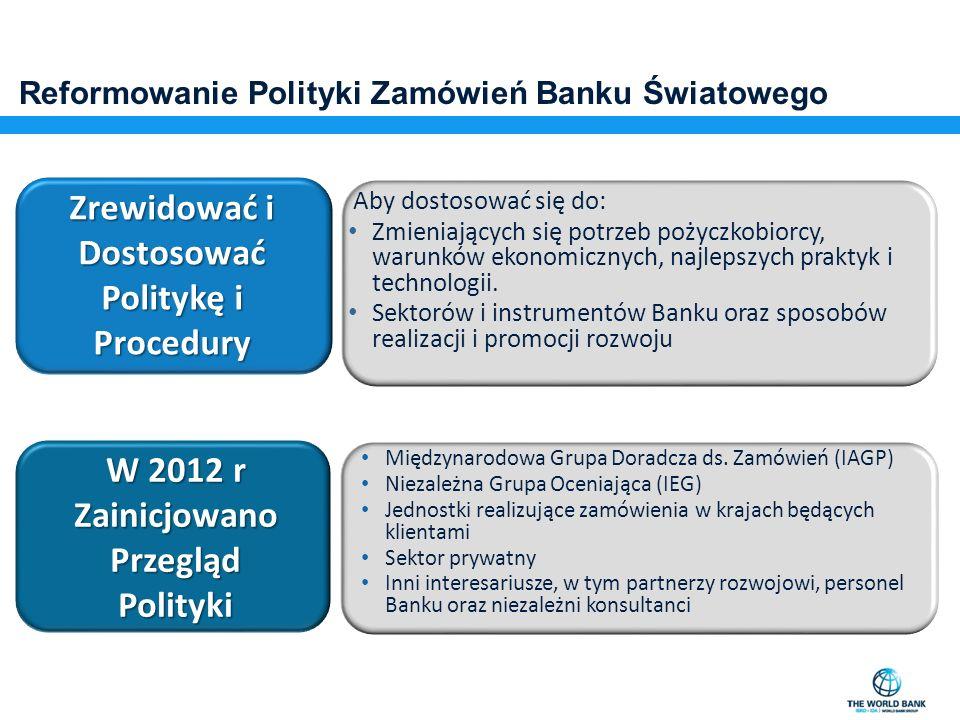 Reformowanie Polityki Zamówień Banku Światowego Zrewidować i Dostosować Politykę i Procedury Aby dostosować się do: Zmieniających się potrzeb pożyczko