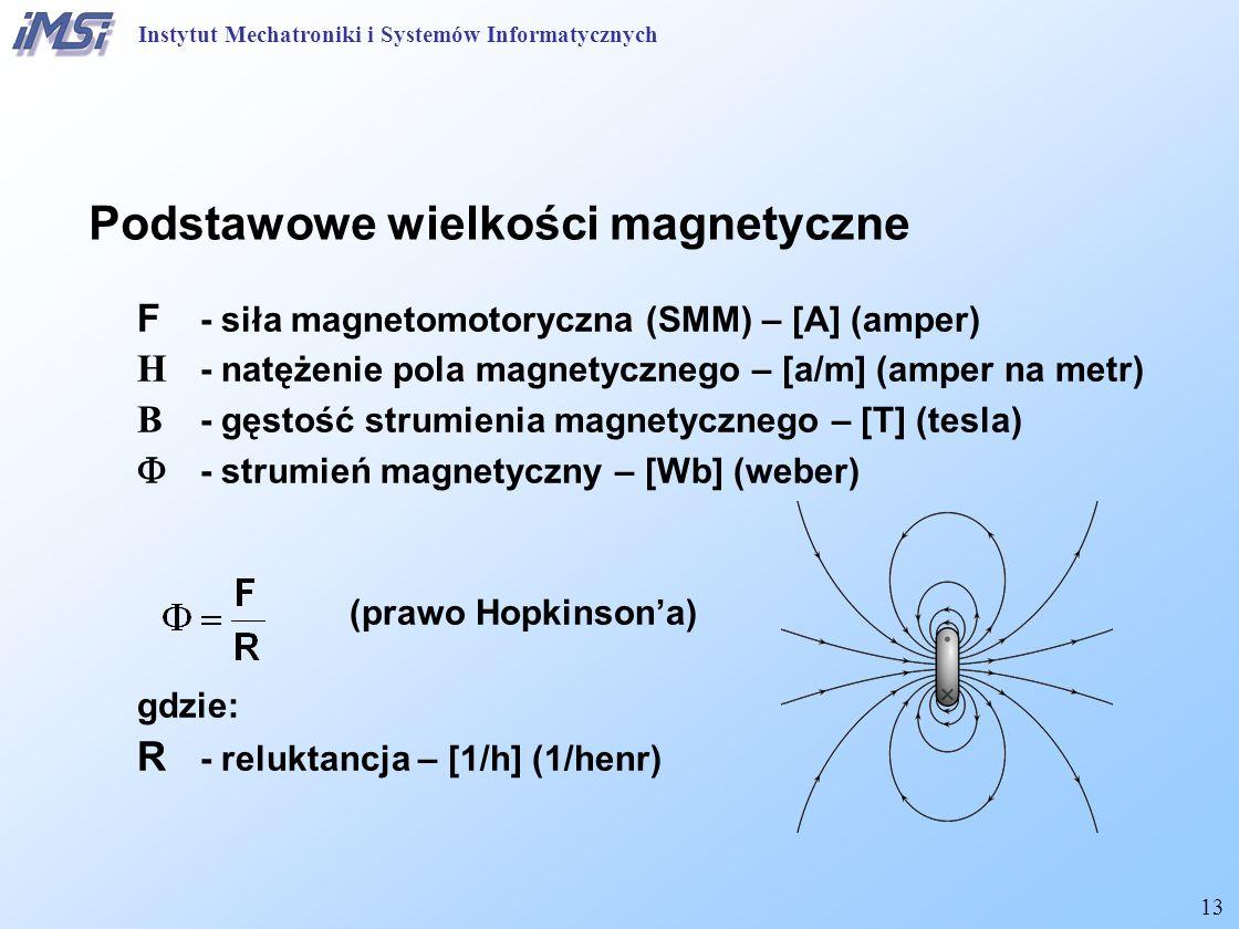 13 Podstawowe wielkości magnetyczne F - siła magnetomotoryczna (SMM) – [A] (amper) H - natężenie pola magnetycznego – [a/m] (amper na metr) B - gęstoś