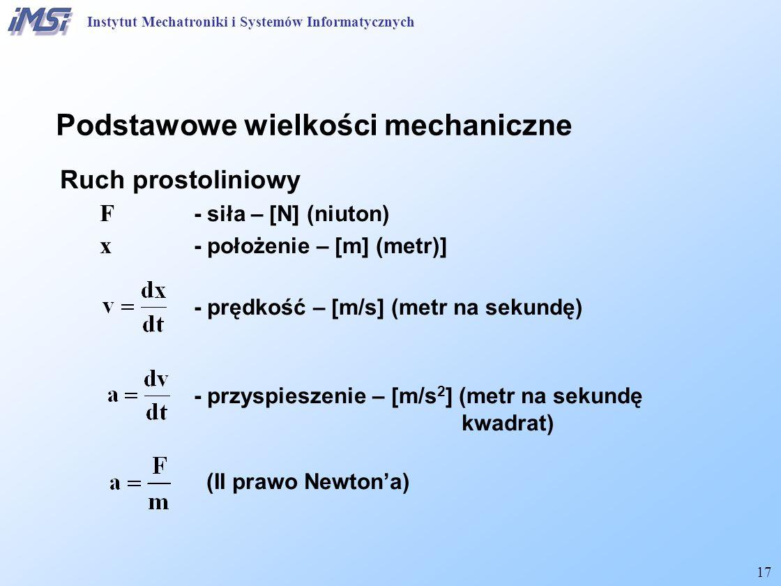 17 Podstawowe wielkości mechaniczne Ruch prostoliniowy F - siła – [N] (niuton) x - położenie – [m] (metr)] - prędkość – [m/s] (metr na sekundę) - przy