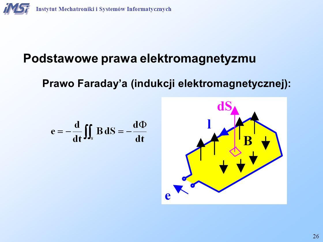 26 Prawo Faraday'a (indukcji elektromagnetycznej): Instytut Mechatroniki i Systemów Informatycznych Podstawowe prawa elektromagnetyzmu