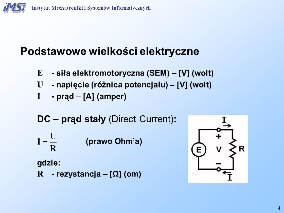 4 Podstawowe wielkości elektryczne E - siła elektromotoryczna (SEM) – [V] (wolt) U - napięcie (różnica potencjału) – [V] (wolt) I - prąd – [A] (amper)