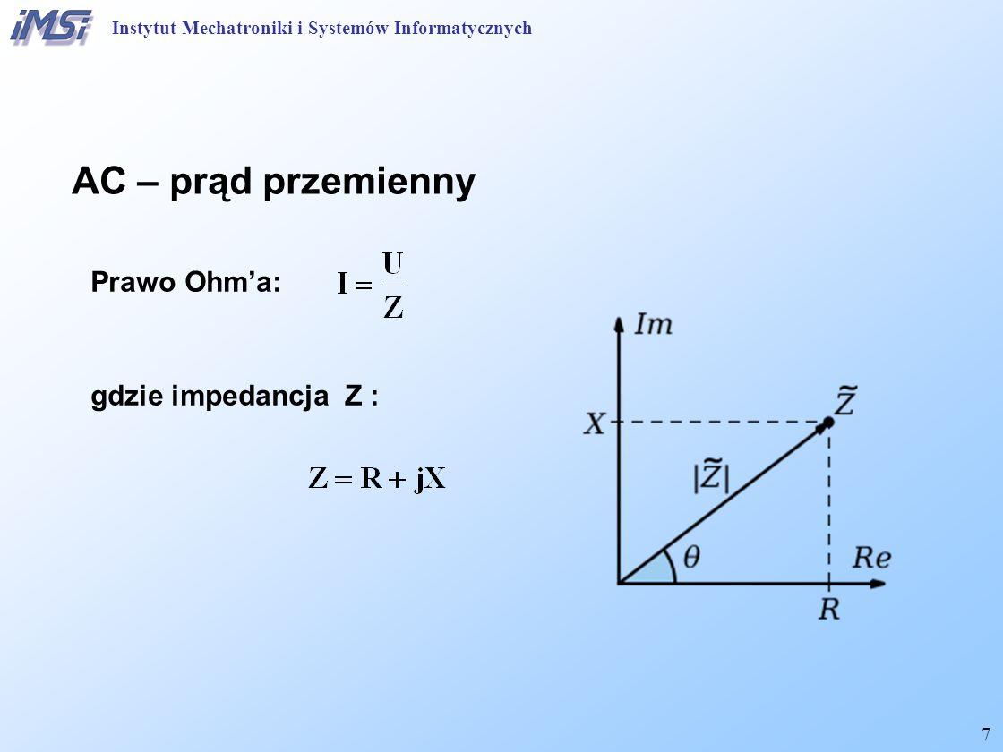 7 AC – prąd przemienny Prawo Ohm'a: gdzie impedancja Z : Instytut Mechatroniki i Systemów Informatycznych