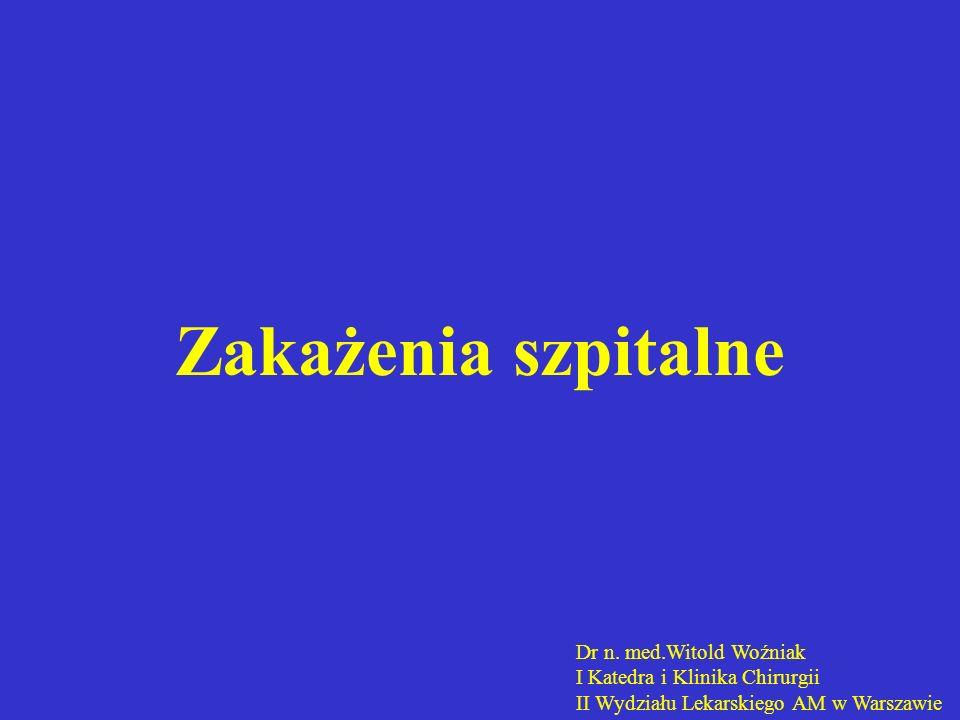 Zakażenia szpitalne Dr n. med.Witold Woźniak I Katedra i Klinika Chirurgii II Wydziału Lekarskiego AM w Warszawie