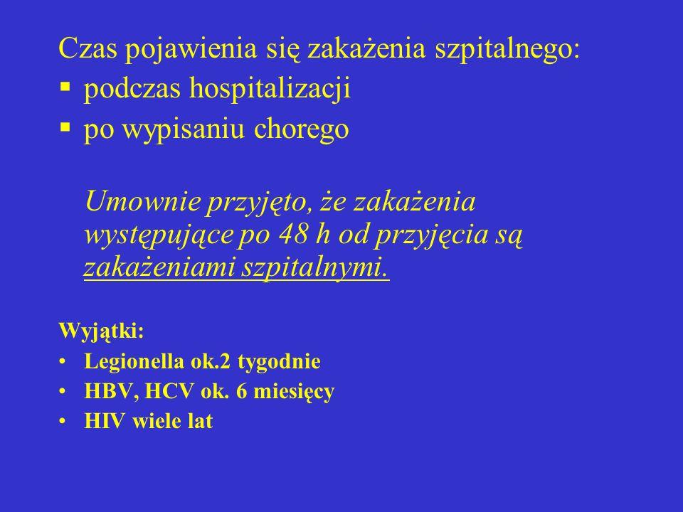 Czas pojawienia się zakażenia szpitalnego:  podczas hospitalizacji  po wypisaniu chorego Umownie przyjęto, że zakażenia występujące po 48 h od przyj