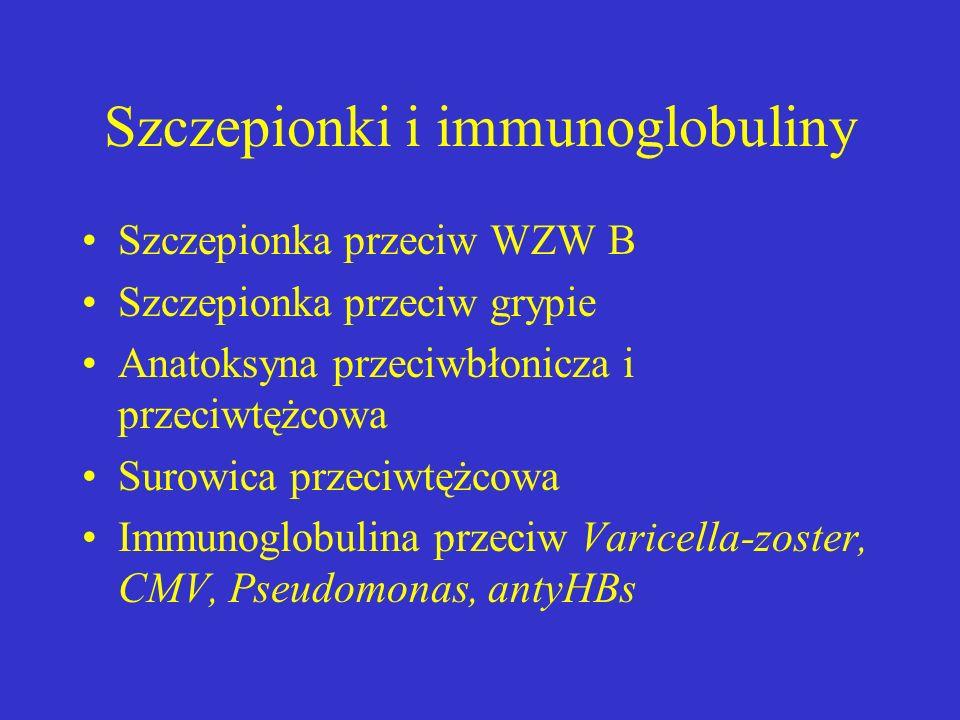 Szczepionki i immunoglobuliny Szczepionka przeciw WZW B Szczepionka przeciw grypie Anatoksyna przeciwbłonicza i przeciwtężcowa Surowica przeciwtężcowa