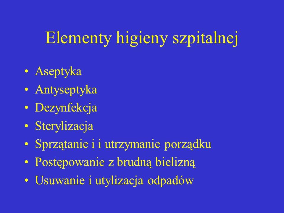 Elementy higieny szpitalnej Aseptyka Antyseptyka Dezynfekcja Sterylizacja Sprzątanie i i utrzymanie porządku Postępowanie z brudną bielizną Usuwanie i