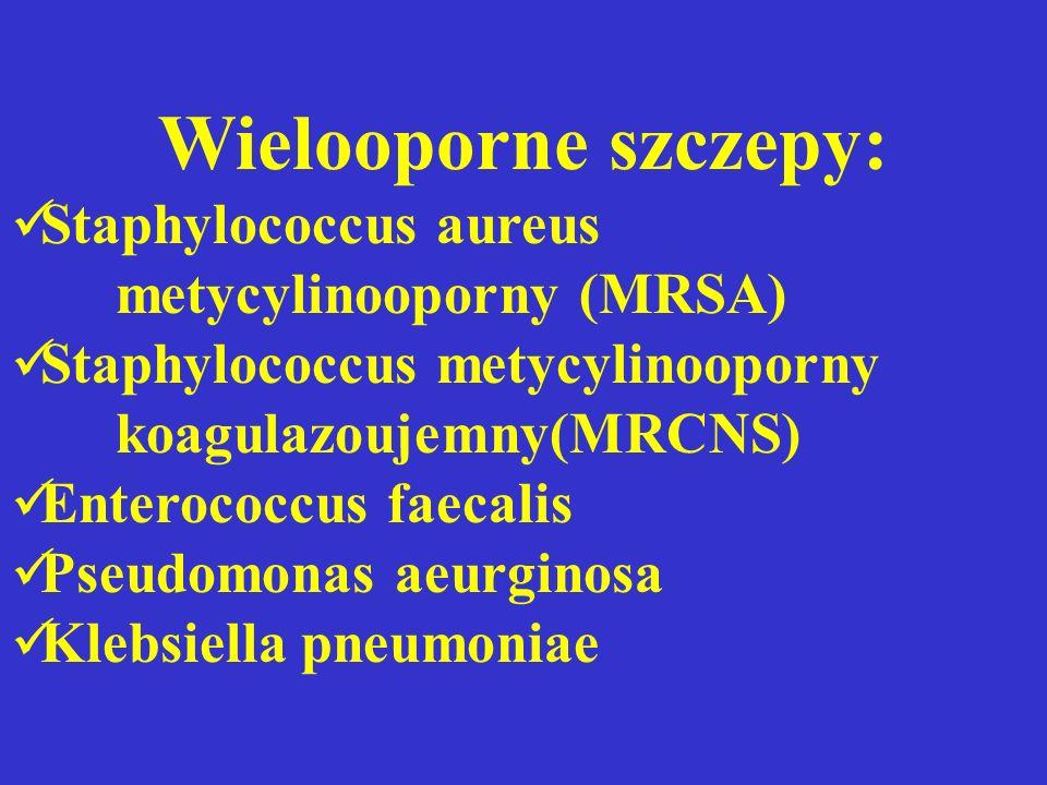 Wielooporne szczepy: Staphylococcus aureus metycylinooporny (MRSA) Staphylococcus metycylinooporny koagulazoujemny(MRCNS) Enterococcus faecalis Pseudo