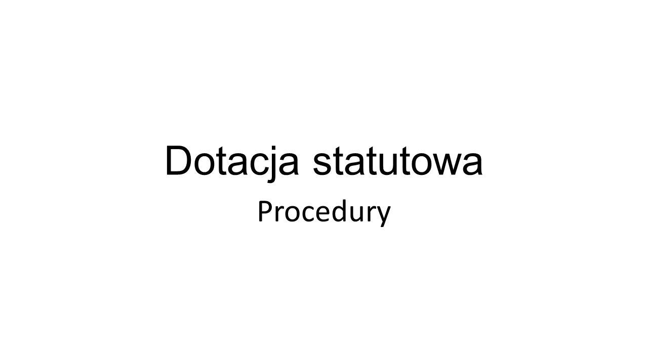 Dotacja statutowa Procedury