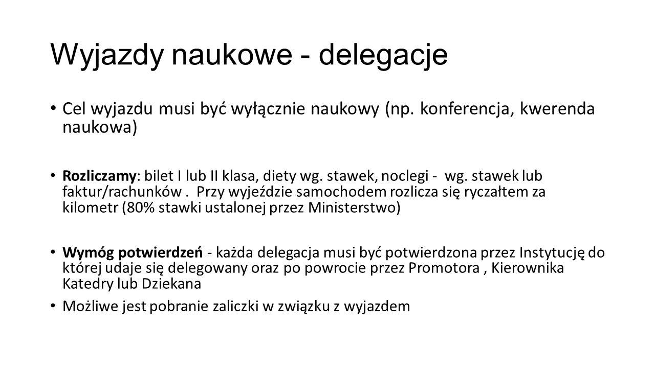Wyjazdy naukowe - delegacje Cel wyjazdu musi być wyłącznie naukowy (np. konferencja, kwerenda naukowa) Rozliczamy: bilet I lub II klasa, diety wg. sta