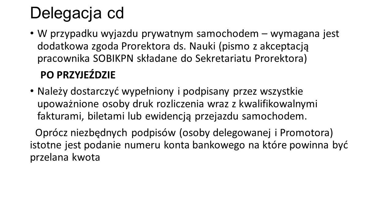 Delegacja cd W przypadku wyjazdu prywatnym samochodem – wymagana jest dodatkowa zgoda Prorektora ds. Nauki (pismo z akceptacją pracownika SOBIKPN skła