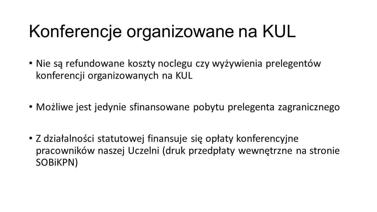 Konferencje organizowane na KUL Nie są refundowane koszty noclegu czy wyżywienia prelegentów konferencji organizowanych na KUL Możliwe jest jedynie sf