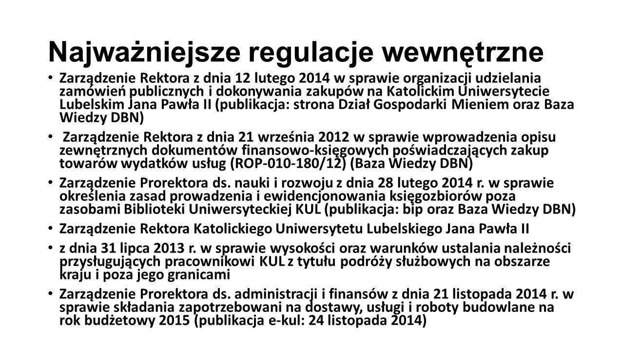 Najważniejsze regulacje wewnętrzne Zarządzenie Rektora z dnia 12 lutego 2014 w sprawie organizacji udzielania zamówień publicznych i dokonywania zakup