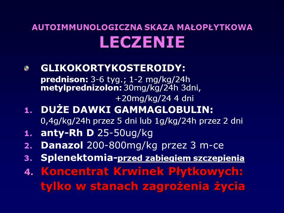 AUTOIMMUNOLOGICZNA SKAZA MAŁOPŁYTKOWA LECZENIE GLIKOKORTYKOSTEROIDY: prednison: 3-6 tyg.; 1-2 mg/kg/24h metylprednizolon: 30mg/kg/24h 3dni, +20mg/kg/2