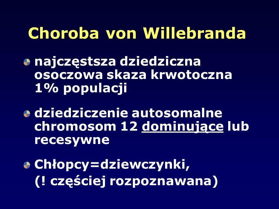 Choroba von Willebranda najczęstsza dziedziczna osoczowa skaza krwotoczna 1% populacji dziedziczenie autosomalne chromosom 12 dominujące lub recesywne