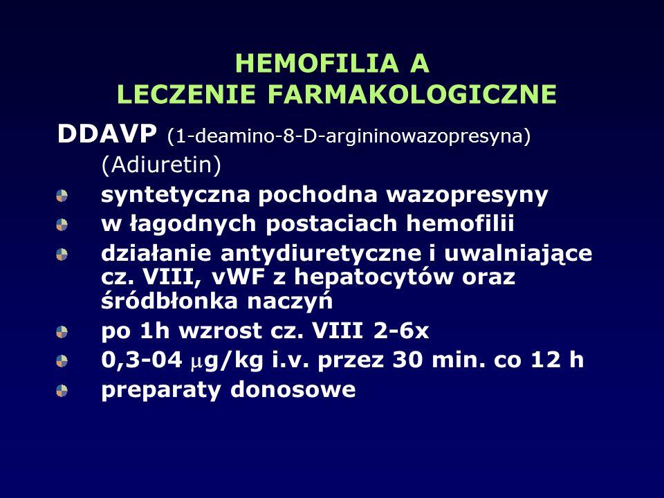 HEMOFILIA A LECZENIE FARMAKOLOGICZNE DDAVP (1-deamino-8-D-argininowazopresyna) (Adiuretin) syntetyczna pochodna wazopresyny w łagodnych postaciach hem