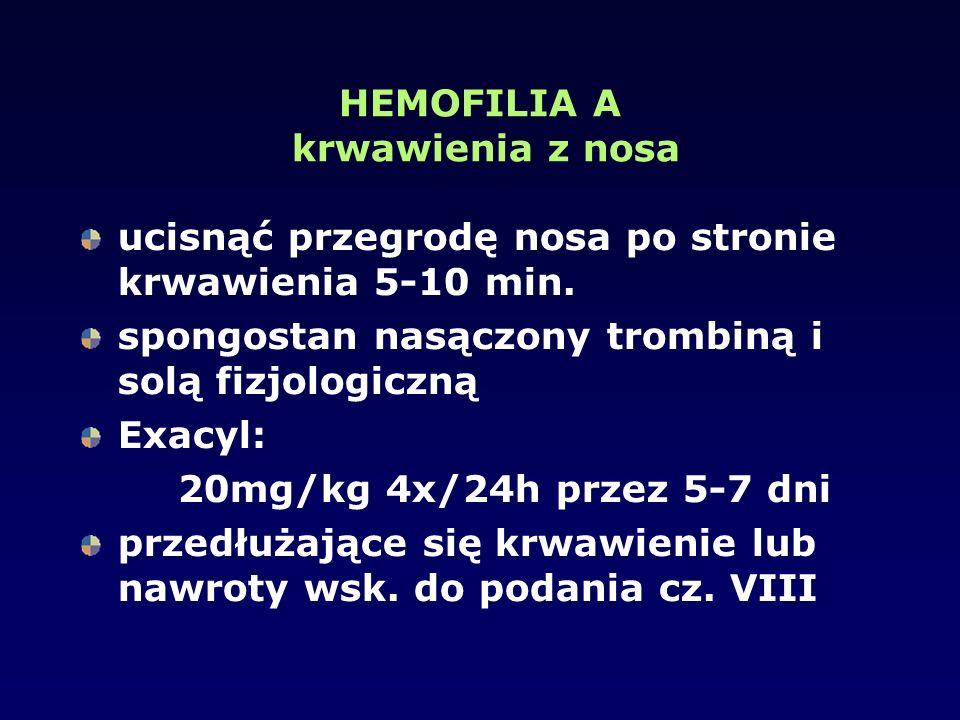 HEMOFILIA A krwawienia z nosa ucisnąć przegrodę nosa po stronie krwawienia 5-10 min. spongostan nasączony trombiną i solą fizjologiczną Exacyl: 20mg/k