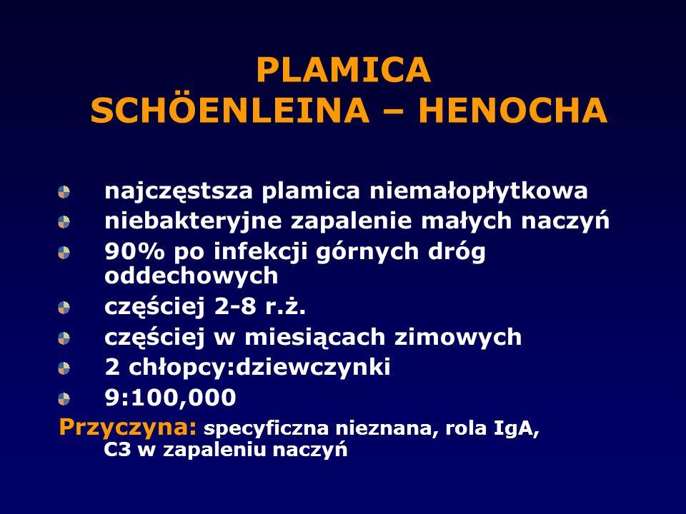 PLAMICA SCHÖENLEINA – HENOCHA najczęstsza plamica niemałopłytkowa niebakteryjne zapalenie małych naczyń 90% po infekcji górnych dróg oddechowych częśc