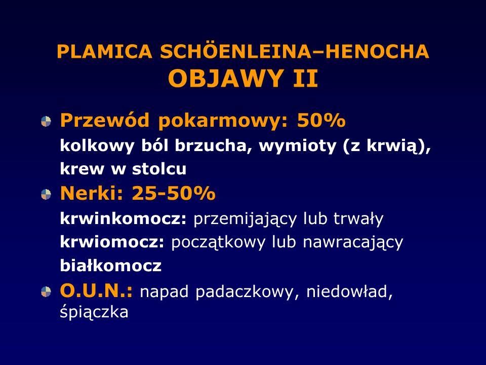 PLAMICA SCHÖENLEINA–HENOCHA OBJAWY II Przewód pokarmowy: 50% kolkowy ból brzucha, wymioty (z krwią), krew w stolcu Nerki: 25-50% krwinkomocz: przemija